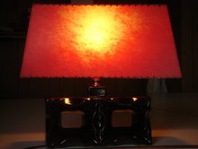 Collectible MID CENTURY LAMP 50's Era BLACK ABSTRACT BLOCK TABLE LAMP electric KOOL