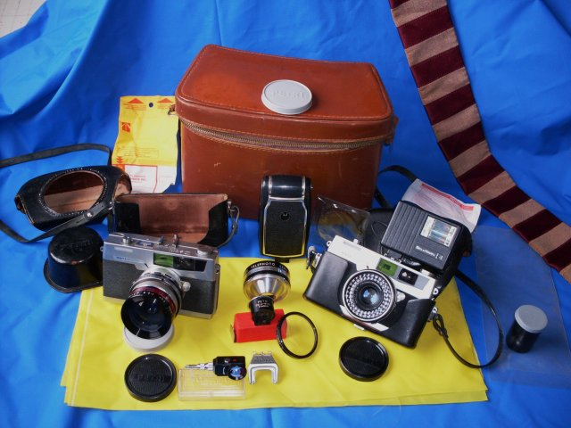 Photography  Add to your Vintage Camera Collection or Camera Buffs Still Make Use __TWO _ 2 _ Petri 7s- 1963 Rangefinder Cameras CIRCLE-EYE Green System Cameras + Case & Lots of attachments