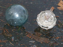 Nautical _ old small Japanese Glass Fishing Float , similar size of glass door knob .