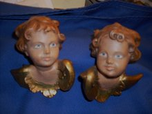 RIFFINGTON ESTATE _ Circa 1900 _ GOLD GILT _PAIR of Hand-Carved Cherubs _ Tyrolian area , Germany. Wood Grain Faces + Hand-Painted Eyes, Gold Gilt Wings. Beautiful Pair.