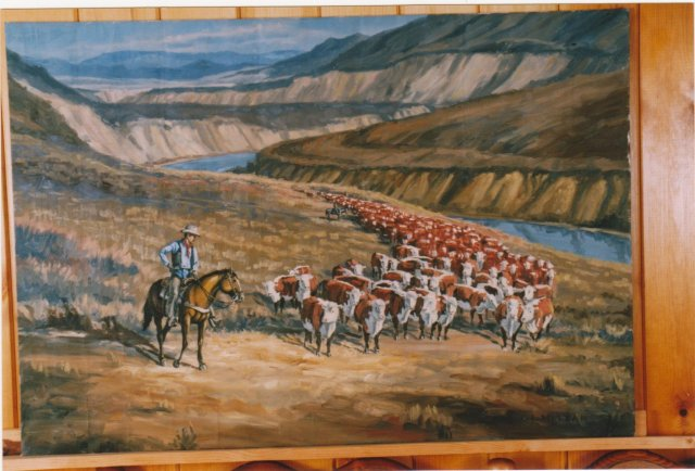 Original ART OIL PAINTING American / CANADIAN ART _Signed: Jack Lee McLean_Title:  Cowboy on his Horse Cattle  Crossing River _one only
