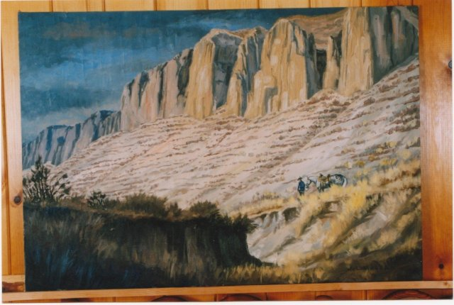 Original Oil Painting American / CANADIAN ART _Signed: Jack Lee McLean_Title: Cowboy Standing by his Horse in Back Hills. in Excellent Original Condition.