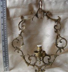 Antique _ ORNATE Electric Light Fixture_ Solid Brass _ Porcelain Socket