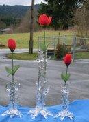 _Antique Decorative _Original FRENCH Crystal ART GLASS VASES from France __3 pieces.__Hand-Blown Crystal Glass Bud Vases__pontil mark under each vase