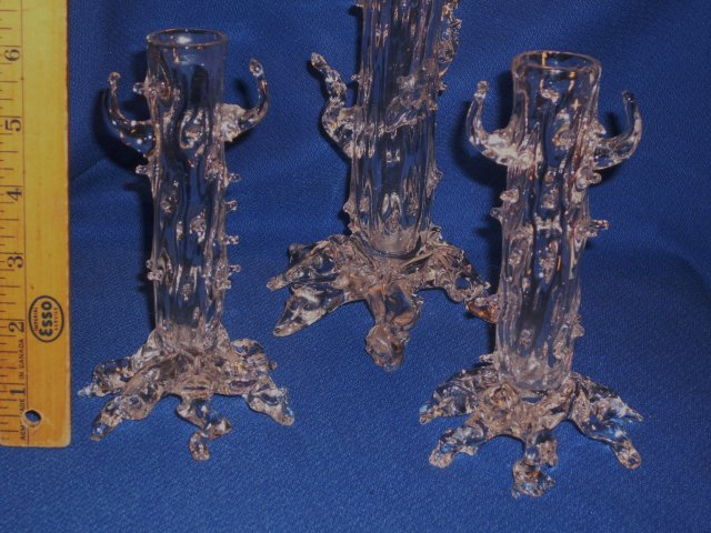 _Antique Decorative _Original FRENCH Crystal ART GLASS VASES from France __3 pieces.__Hand-Blown Crystal Glass Bud Vases__pontil mark under each vase