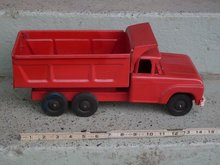 Toys 1950's NYLINT Toys Red Dump Truck with Genuine Rubber Wheels _ 15 1/2 Inches Widest