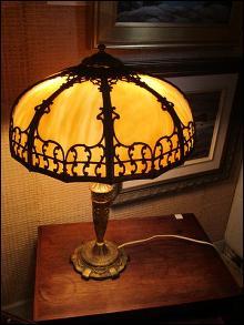 Pr. of art glass,slag, table lamps, 1890.