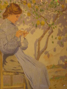 Lucchesi,E., 1904 Gouache, Young Women under Lemon Tree