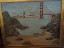 Golden Gate Bridge, painted by Niles, 1950