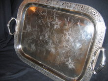 !9th c Quadruple Silver Plated Handled Tea Tray