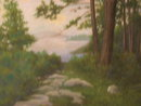 Period Lake George Pastel by John Houtkamp 1914