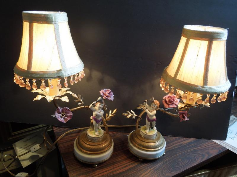 19th, Pr. of French Cherub Lamps, Bronze , China, Marble