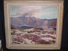 Roy Ropp Oil painting of Wild Verbena in Desert