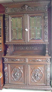 Carved Oak English Bookcase