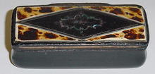 French Tortoise Shell & Papier Mache' Snuff Box,Please visit our website, www.castlehouseantiques.com