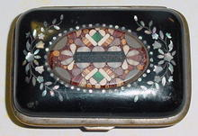 Czech. Papier Mache' Box with Pietra dura Mosiac, Please visit our website, www.castlehouseantiques.com