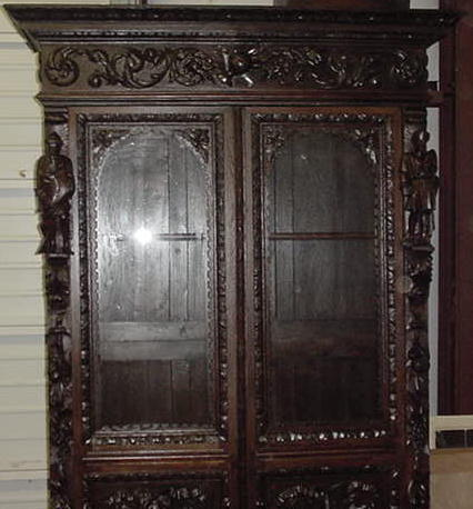 French Carved Oak Book Case