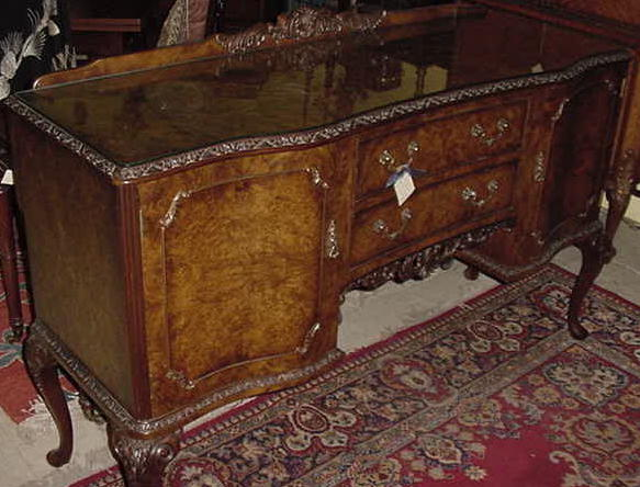 English Burl Walnut Queen Anne Style Sideboard, Please visit our website, www.castlehouseantiques.com