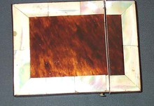Tortoise Shell Over Ivory Card Case With MOP, Please visit our website, www.castlehouseantiques.com