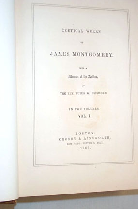 Montgomery -  Poetical Works of James Montgomery, 2 vol. set