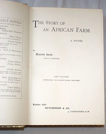 Ralph Iron, The Story Of An African Farm