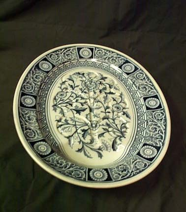 Large Flow Blue Meat Platter By Minton, Please visit our website, www.castlehouseantiques.com
