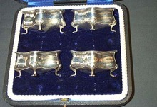 Set Of Four Silver Salt Servers, Please visit our website, www.castlehouseantiques.com