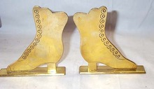 Pair Of Vintage Brass  Shoe Book Ends