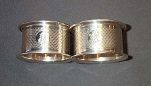 Pair Of English Monogrammed Napkin Rings
