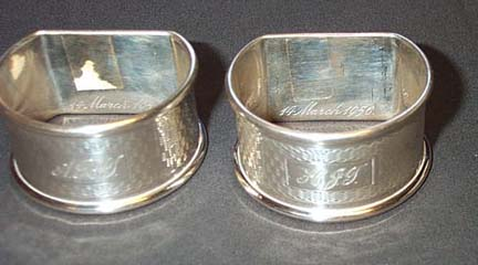 Husband And Wife Sterling Silver Napkin Rings, Please visit our website, www.castlehouseantiques.com
