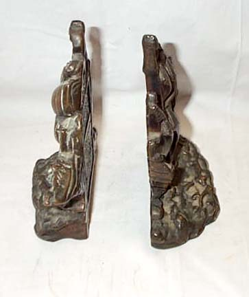 Pair Of Bronze Finish Book Ends