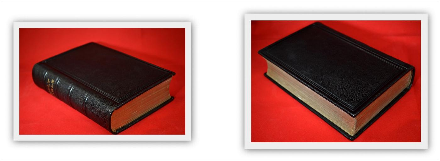 KJV HOLY BIBLE, c.1895, BLACK LEATHER, GILDED