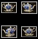 FINE ENGLISH PORCELAIN FLOW BLUE TEA POT, c1912, FINE CHINA, FLORAL