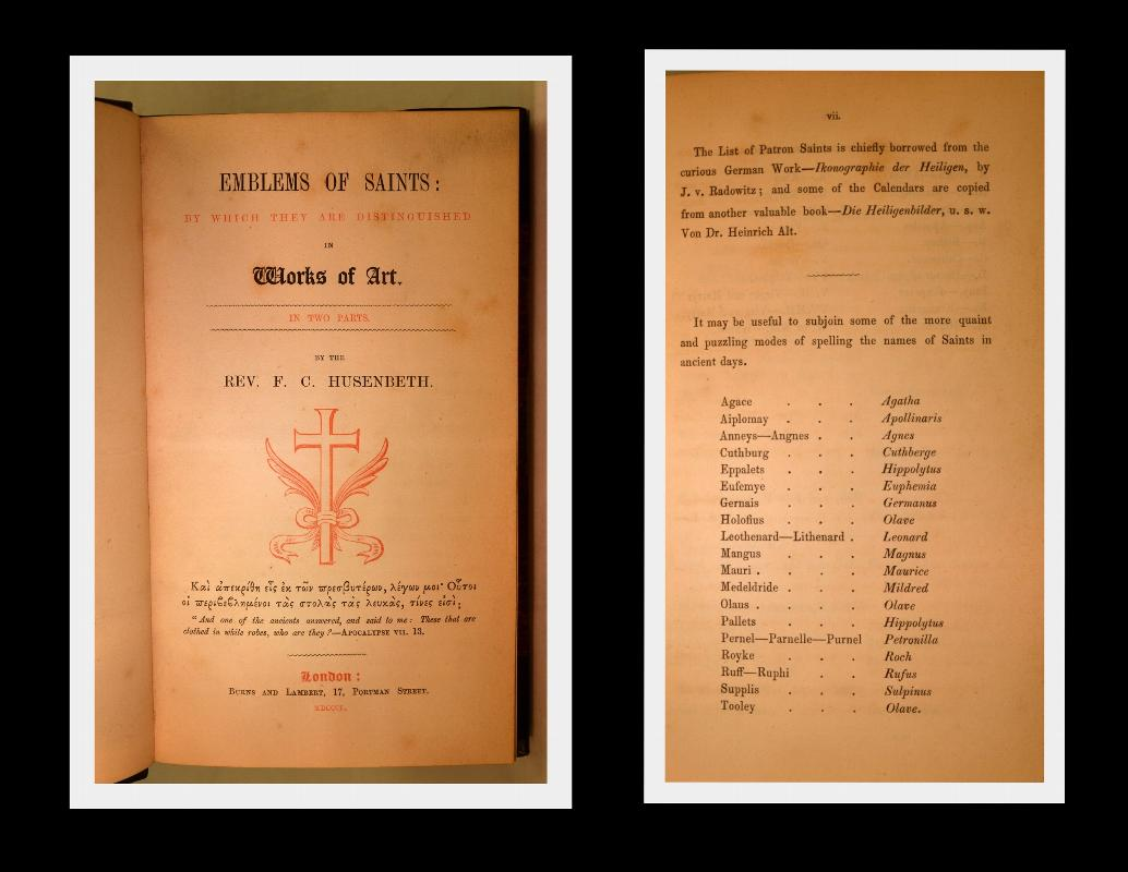EMBLEMS OF SAINTS 1850 LEATHER NEAR FINE MARBLED PAPER