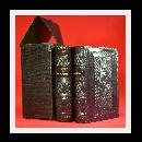 1852 BOXED SET, PRAYERS & LESSONS, LEATHER BOUND, FINE!!!