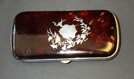 Initialed Tortoise Shell Cigar Case, Please visit our website, www.castlehouseantiques.com