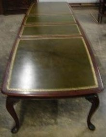 English Solid Mahogany Conference Table Gilded Leather Top