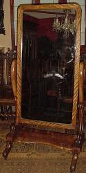 Victorian English Mahogany Cheval Mirror