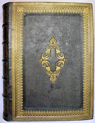 1854 Family Bible Gilded Black Leather, Large