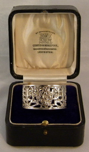 Intricate Silver Victorian Era Napkin Ring In Original Box