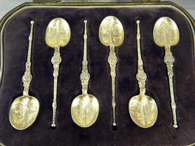 Set of 6 Ornate Gold Gilded Silver Spoons Original Box
