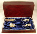 Sterling Silver Butter Knife & Sugar Spoon Boxed - Roses