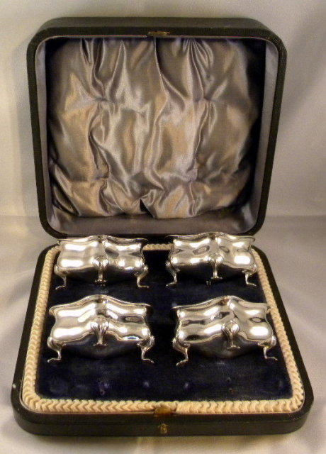 4 Art Nouveau Silver Salt Cellars, Original Box 1906