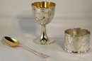 Fine Antique Sheffield Sterling Silver 3 Piece Christening Set, Original Box