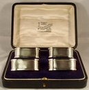 Boxed Set of 4 Sterling Silver Napkin Rings, Birmingham, 1905
