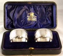 Boxed Pair Scottish Sterling Silver Napkin Rings, Edinburgh 1897