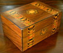 Victorian English Rosewood Dresser Box With Tunbridge Ware Inlays