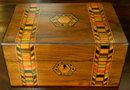 Victorian English Rosewood Dresser Box With Tunbridge Ware Inlays