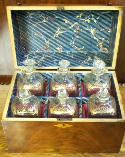 English Regency Decanter Set In Mahogany Dome Top Box, 1820