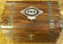 Victorian Rosewood English TEA Caddy Inlays of Silver, Abalone, & Ebony, 1860